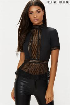 PrettyLittleThing High Neck Long Sleeve Lace Blouse