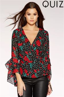 Quiz Floral Print Wrap Top