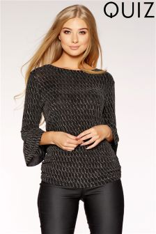 Quiz Wrap Tie Front Frill Sleeve Top