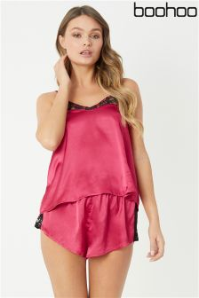 Boohoo Lace Trim Satin Cami And Short Set