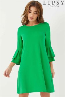 Lipsy Tiered Fluted Sleeve Shift Dress