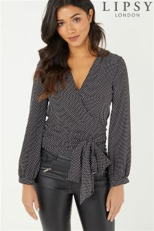 Lipsy Polka Dot Ruffle Wrap Top