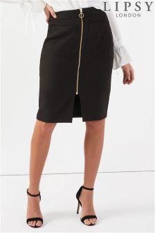 Lipsy Zip Front Midi Skirt