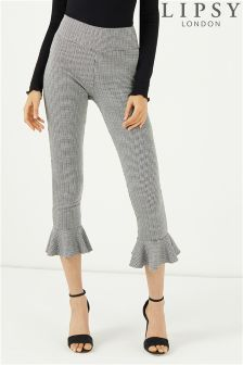 Lipsy Dogtooth Flute Hem Trousers