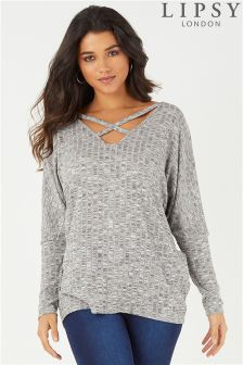 Lipsy Cross Front Rib Long Sleeve Top