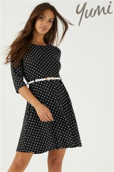 Yumi Polka Dot 3/4 Length Sleeve Dress