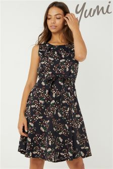 Yumi Tie Waist Ditsy Skater Dress
