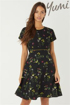 Yumi Garden Bird Patterned Tea Dress