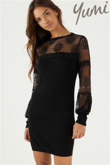 Yumi Floral Lace Sleeve Jumper Dress