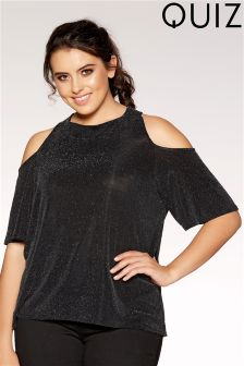 Quiz Curve High Neck Cold Shoulder Top
