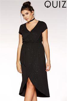 Quiz Curve Glitter Crepe Wrap Front Dress