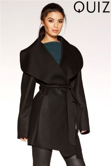 Quiz Felt Tie Belt Wrap Front Waterfall Jacket