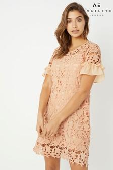 Angeleye Crochet Detail Ruffle Shift Dress