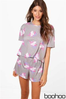 Boohoo Daisy Unicorn Shorts And Tee PJ Set