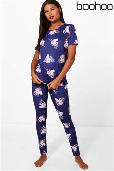 Boohoo Alice Unicorn Leggings And Tee PJ Set
