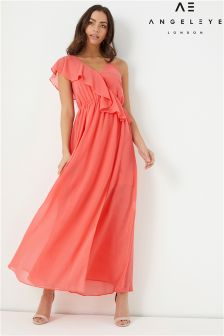 Angeleye Maxi Dress with Ruffle Shoulder Detail