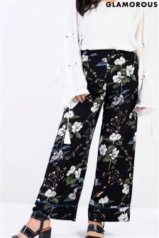 Glamorous High Waisted Floral Trousers