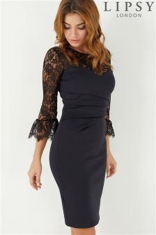 Lipsy Lace Sleeve Pleated Bodycon Dress