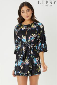 Lipsy Jacquard Floral Tie Front Playsuit