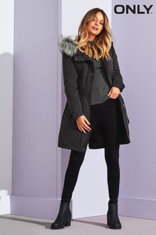 Only Long Line Faux Fur Parka