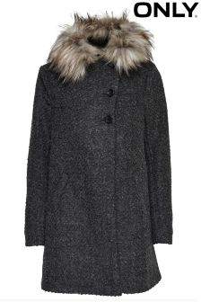 Only Faux Fur Wool Coat