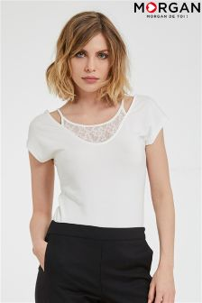 Morgan Open Shoulder Lace Detail Top