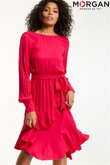 Morgan Long Ruffle Belted Dress