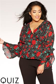 Quiz Curve Polka Dot Wrap Top