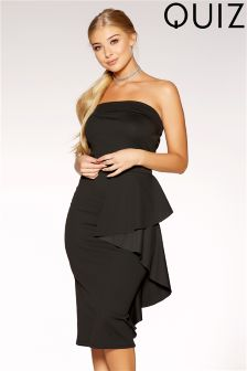 Quiz Bardot Ruffle Side Midi Dress