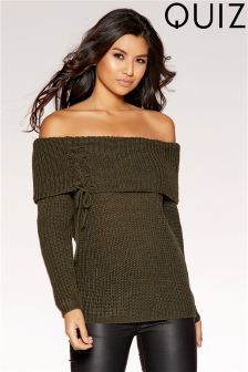 Quiz Bardot Lace Up Jumper