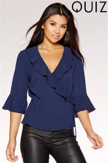 Quiz Wrap Over Frill Sleeve Top