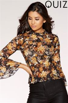 Quiz Lace Floral Print Frill Sleeve Top