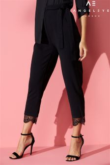 Angeleye Lace Trim Cigarette Trousers