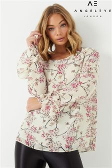 Angeleye Ruffle Floral Printed Blouse
