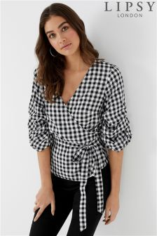Lipsy Gingham Tuck Sleeve Wrap Top