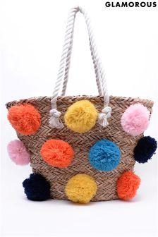 Glamorous Pom Pom Rafia Beach Bag