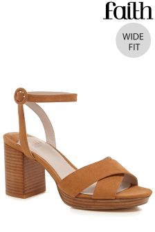 Faith Wide Fit Stacked Heel X Over Platforms