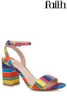 Faith Stripe Block Heel Sandals