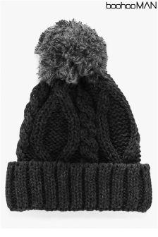 Boohoo Man Pom Pom Cable Knit Beanie