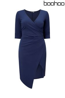 Boohoo Plus Cap Sleeve Wrap Dress