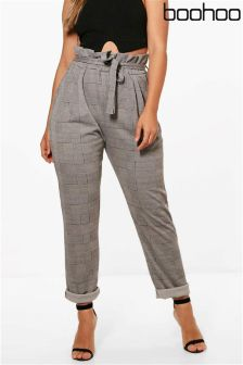 Boohoo Plus Check Paperbag Tapered Trousers