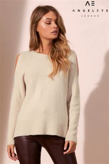 Angeleye Cut Out Shoulder Ripped Jumper