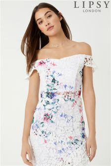 Lipsy Loves Kate Printed Lace Co-ord Bardot Top