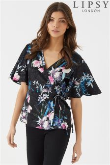 Lipsy Jaquard Printed Wrap Top