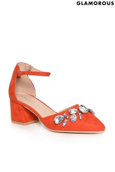 Glamorous Low Heel Jewelled Court Shoes
