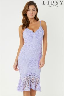 Lipsy Scallop Lace Flute Hem Midi Dress