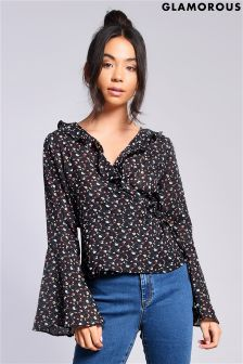 Glamorous Petite Printed Wrap Front Top