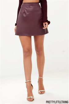 PrettyLittleThing PU A line Skirt