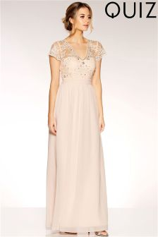 Quiz Chiffon Embellished Bodice Maxi Dress