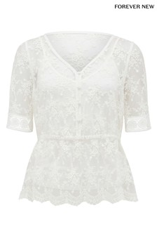 Forever New Petite Lace Trim Sleeve Top